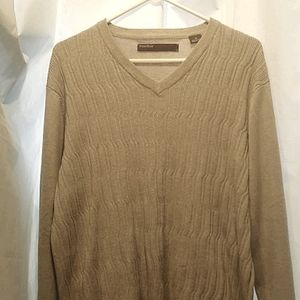 Perry Ellis Cotton Textured V Neck Sweater